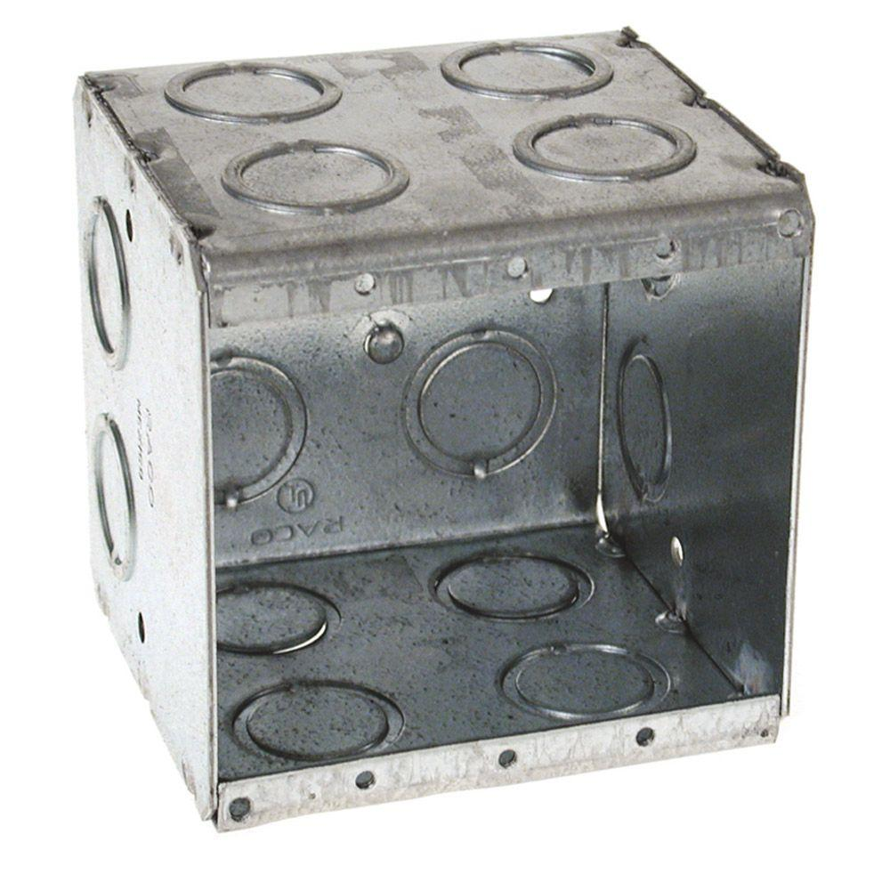 null Two-Gang Masonry Box, 3-1/2 in. Deep with 1/2 and 3/4 in Concentric KO's (25-Pack)