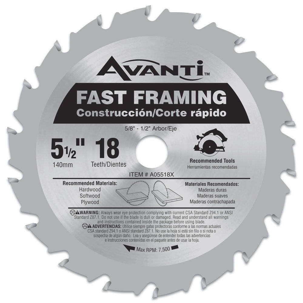 Avanti 5-1/2 in. x 18-Tooth Fast Finish Saw Blade-A05518X - The