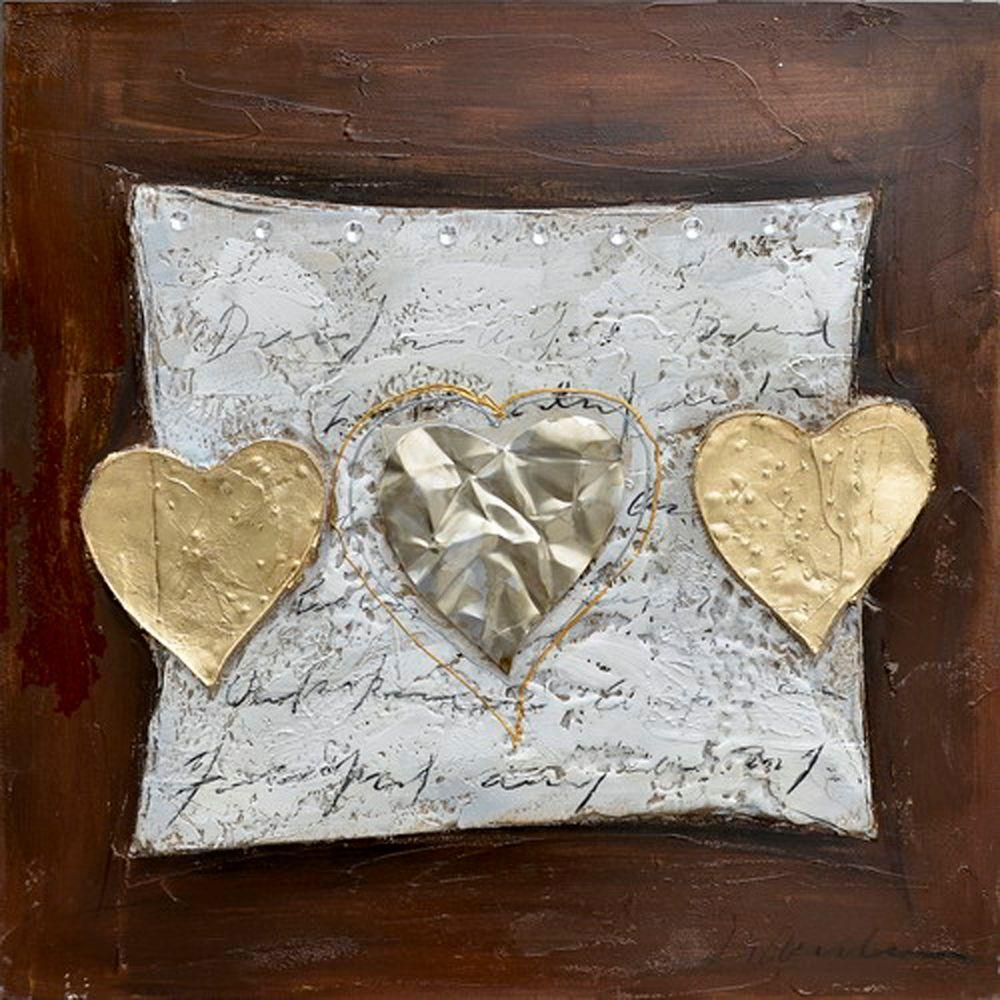 Yosemite Home Decor 27.5 in. x 27.5 in. Hearts of Gold Hand Painted Contemporary Artwork-DISCONTINUED