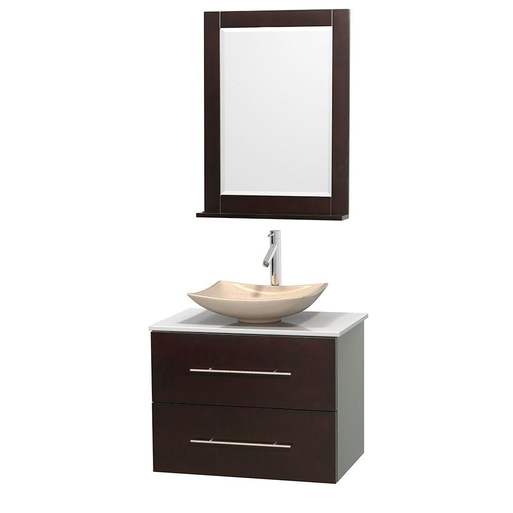 Wyndham Collection Centra 30 in. Vanity in Espresso with Solid-Surface Vanity
