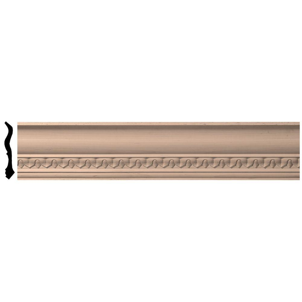 Ekena Millwork 4-3/4 in. x 96 in. x 4-7/8 in. Unfinished Wood Cherry Lanarkshire Carved Crown Moulding