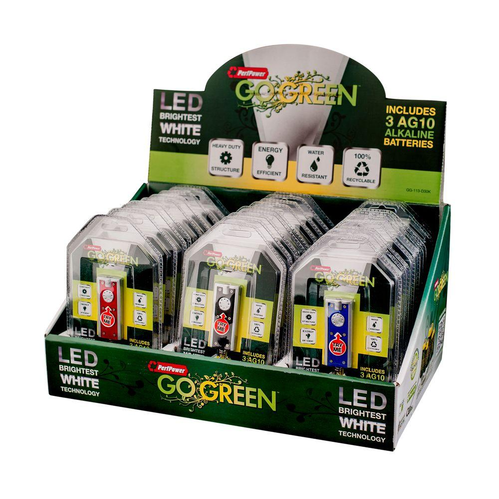 Flashlight Keychain: Go Green Power Flashlights LEDs in 3 Assorted Colors (60-Pack) Metallics GG-113-D30K