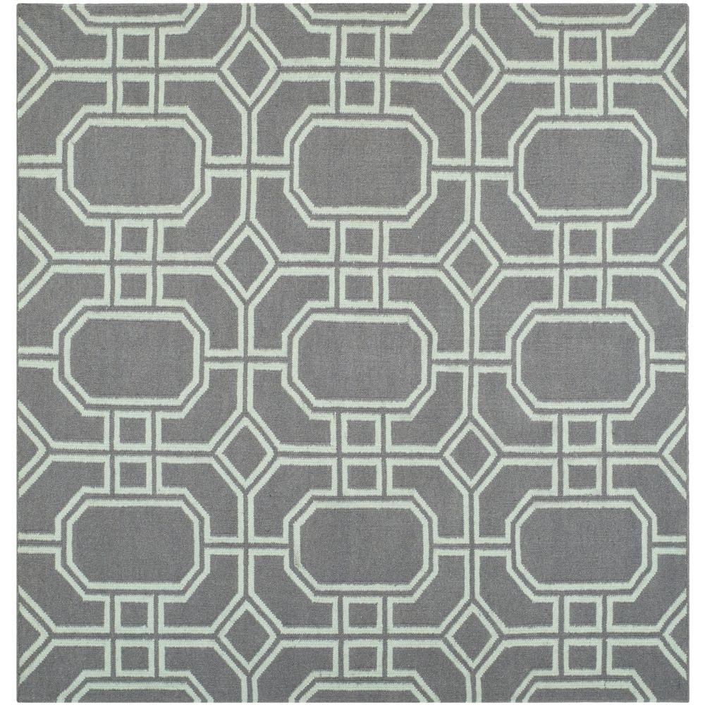 Dhurries Grey/Light Blue 6 ft. x 6 ft. Square Area Rug