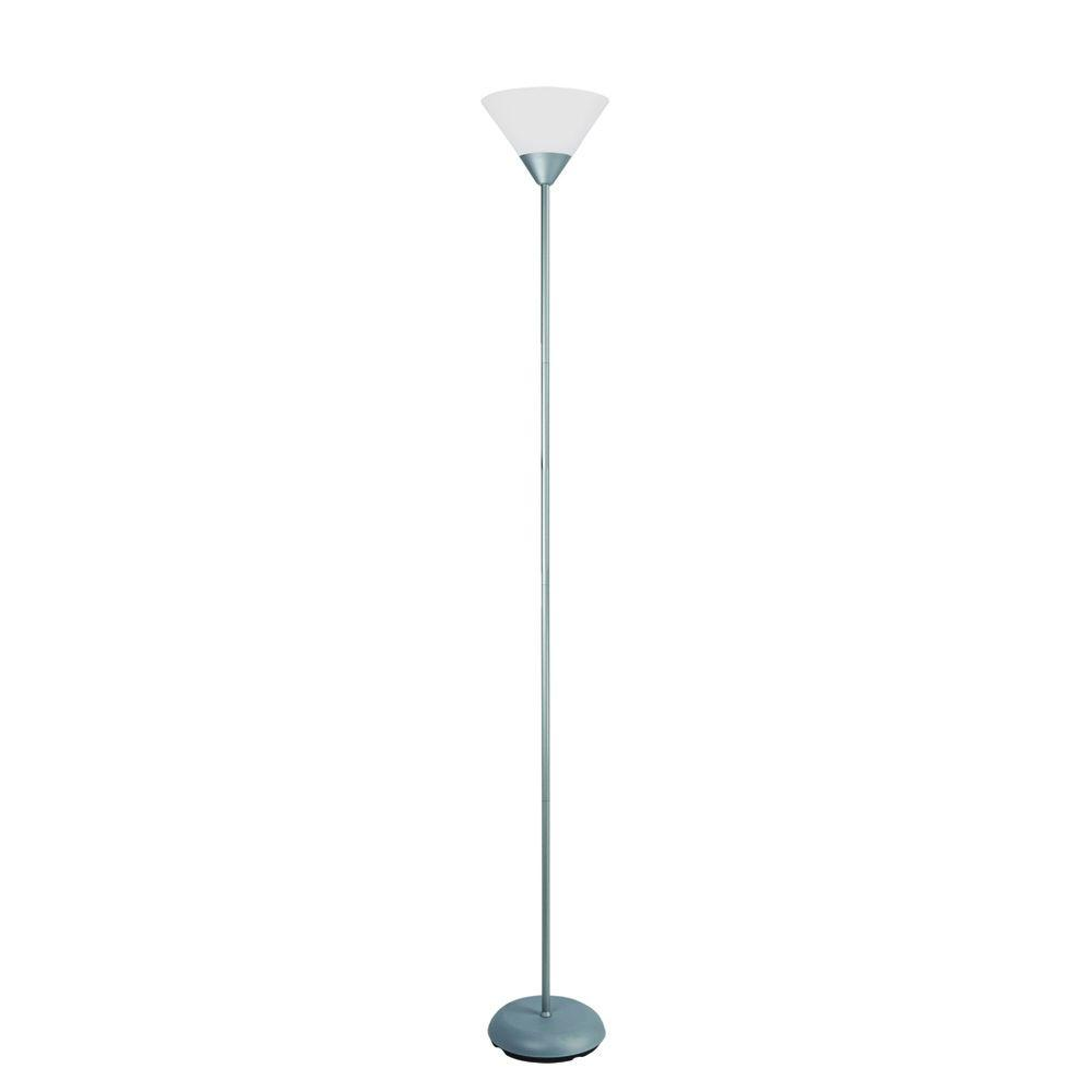Simple Designs 71.25 in. Silver Stick Torchiere Floor Lamp-LF1011-SLV - The