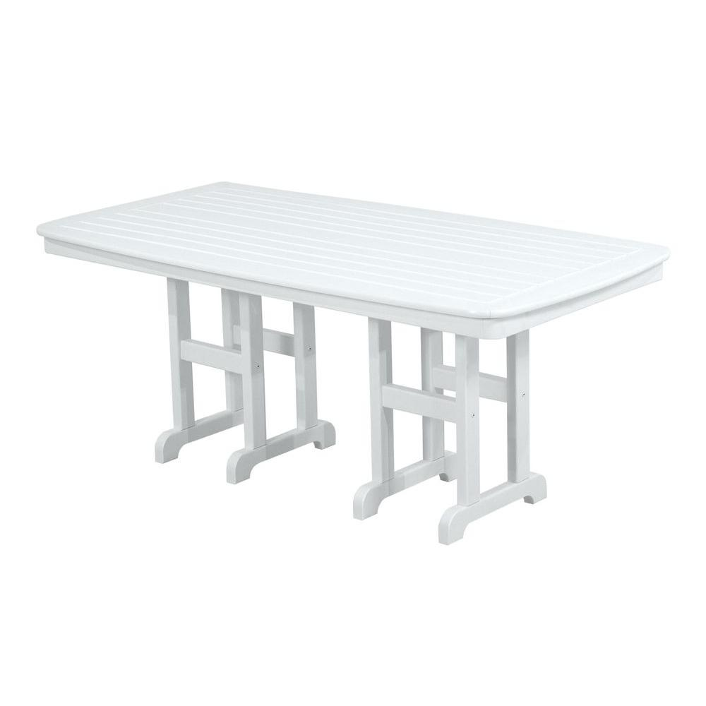 POLYWOOD Nautical 37 in. x 72 in. White Patio Dining Table-NCT3772WH