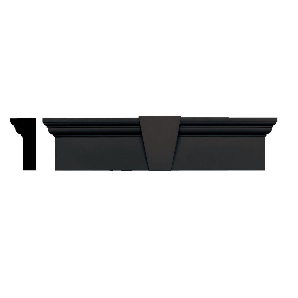 Builders Edge 3-3/4 in. x 9 in. x 43-5/8 in. Composite Flat Panel Window Header with Keystone in 010 Musket Brown