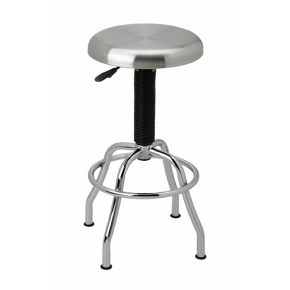 Seville Classics Stainless Steel Pneumatic Bar Stool in Silver Metallic