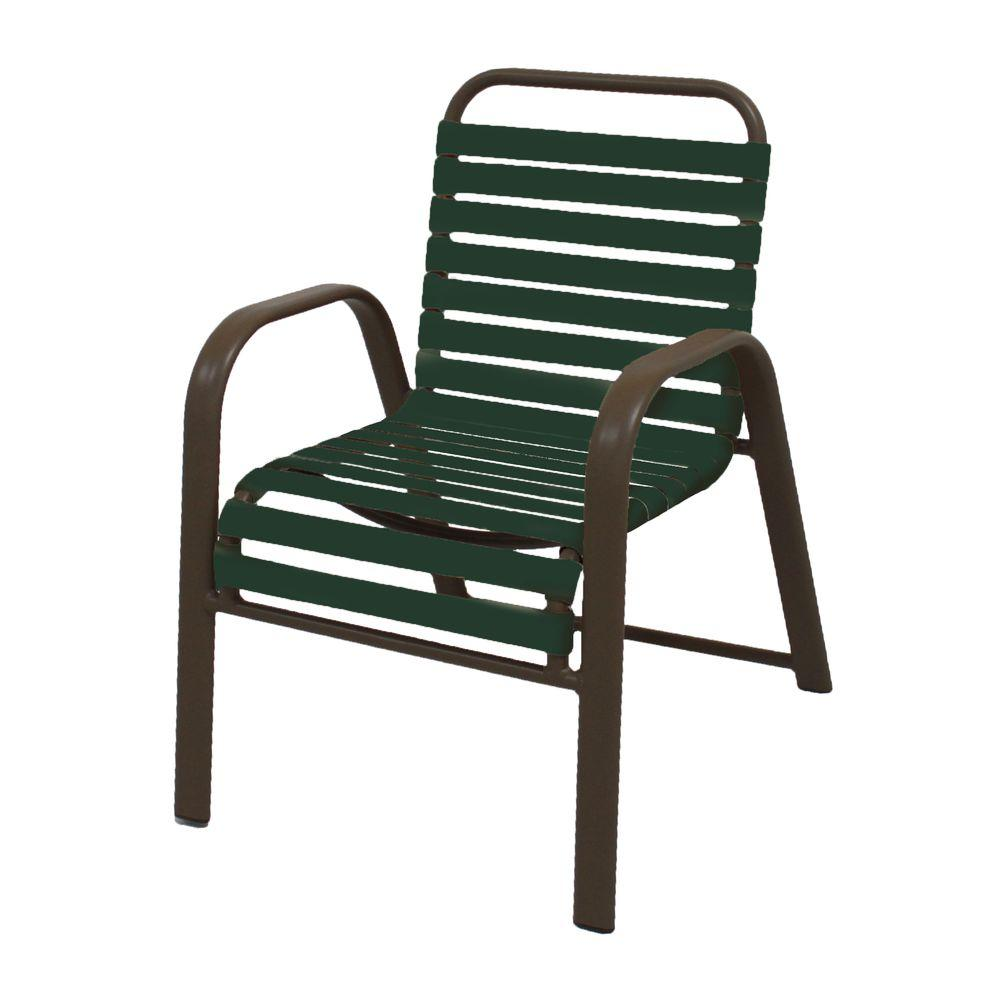 Marco Island Brownstone Commercial Grade Aluminum Patio Dining Chair with Green