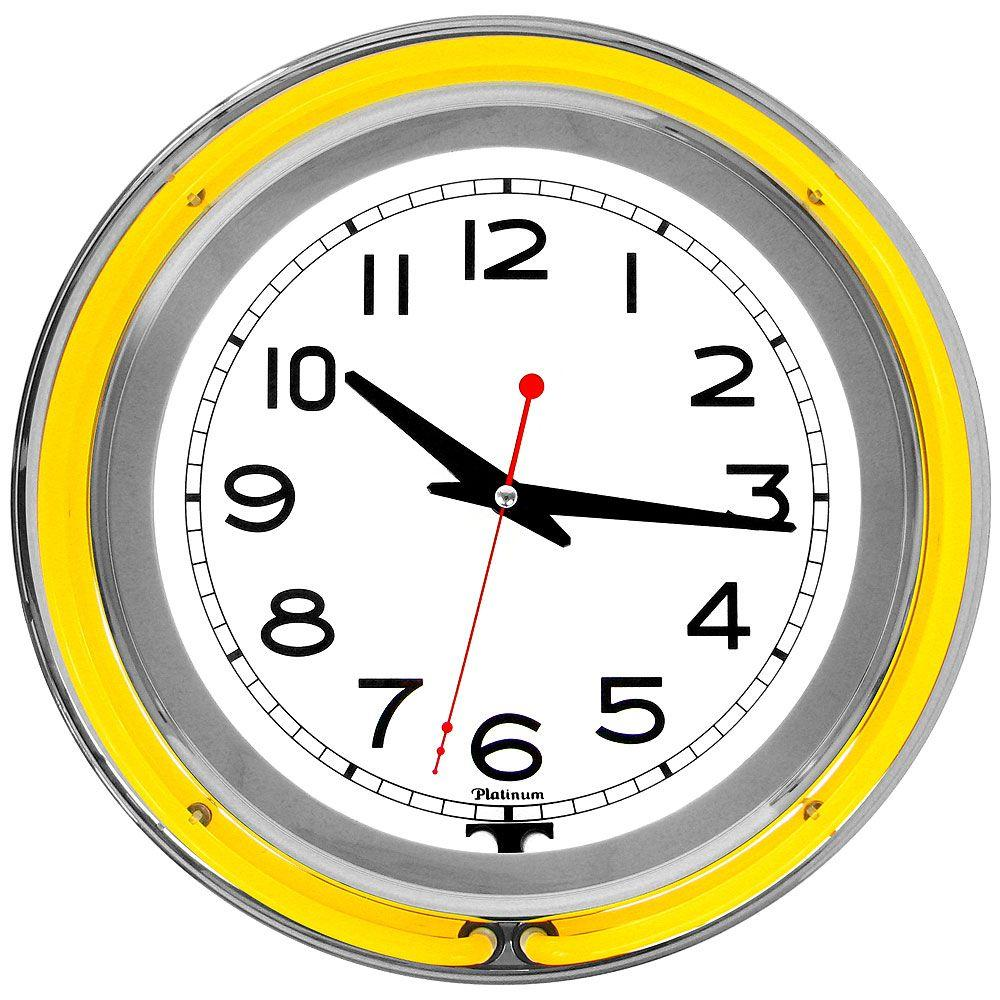 Trademark 3 in. x 14 in. Yellow Double Ring Neon Clock