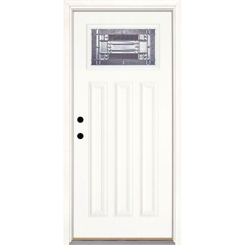 Feather River Doors 37.5 in. x 81.625 in. Preston Zinc Craftsman Unfinished Smooth Right-Hand Inswing Fiberglass Prehung Front Door