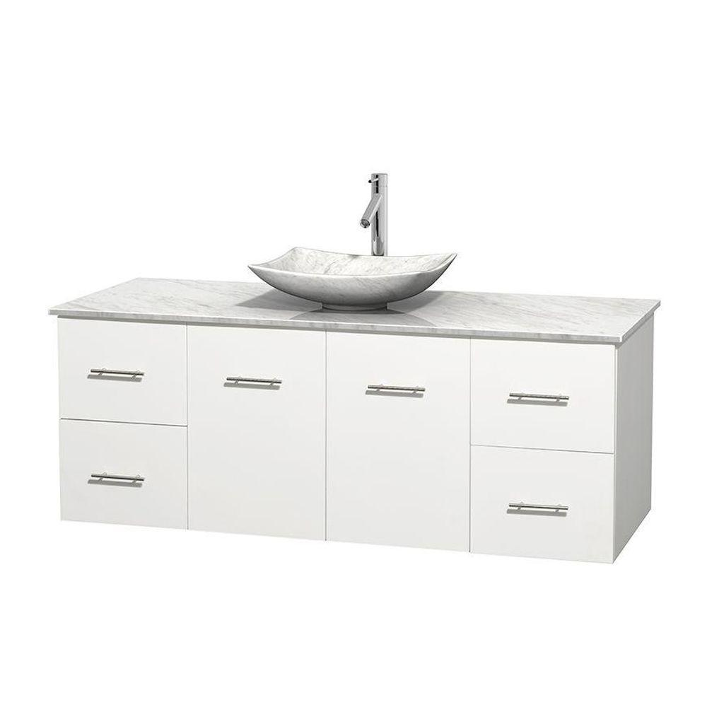 Centra 60 in. Vanity in White with Marble Vanity Top in