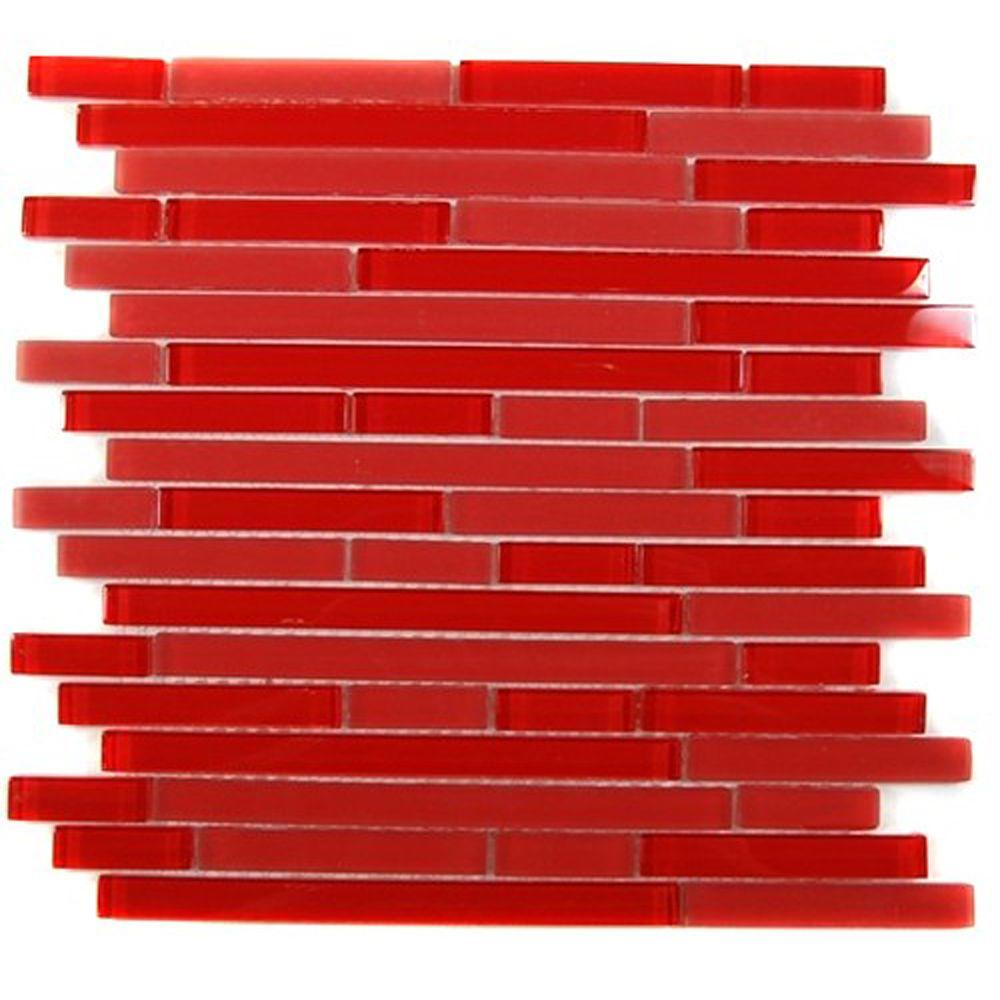 Splashback Tile Temple Mars 12 in. x 12 in. x 8 mm Glass Mosaic Floor and Wall Tile