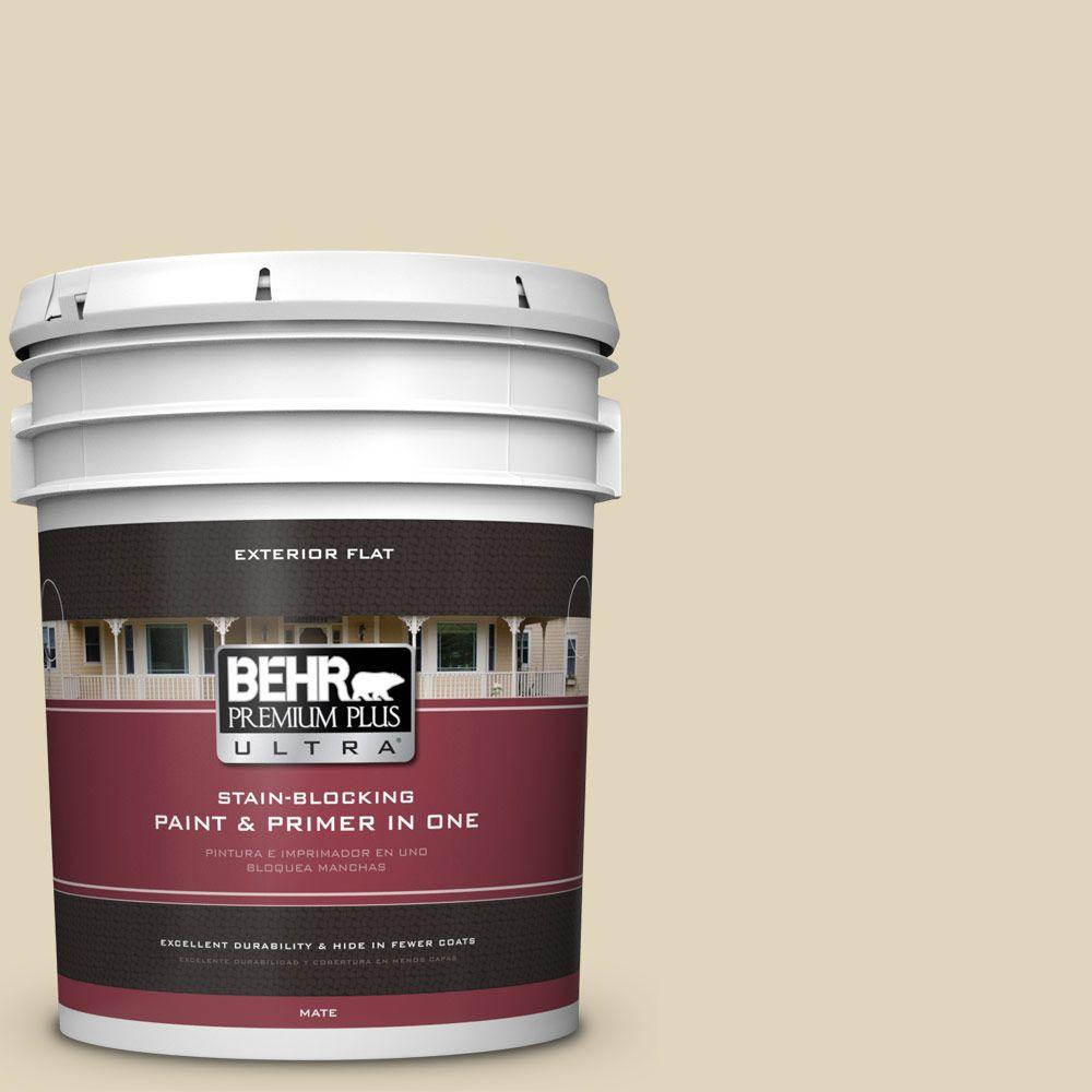 BEHR Premium Plus Ultra 5-gal. #PPU7-17 Wax Sculpture Flat Exterior Paint