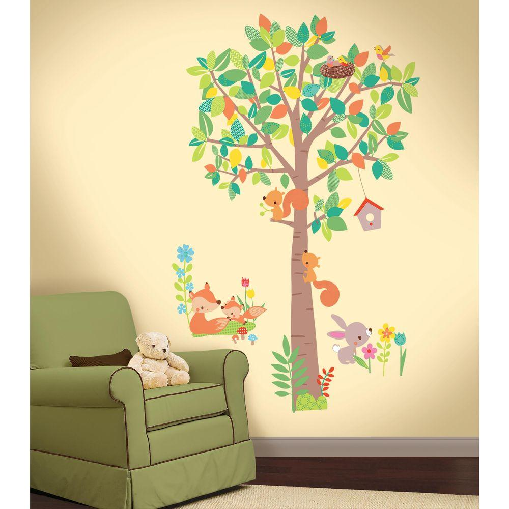 2.5 in. W x 27 in. Woodland Creatures Tree14-Piece Peel and Stick Giant Wall Decal, Multi