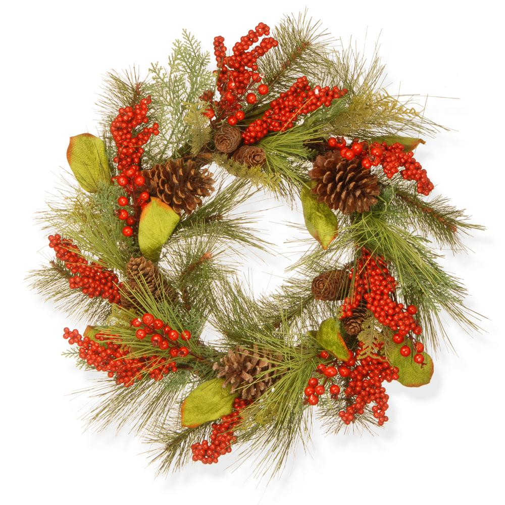 24 in. Bristle and Berry Artificial Wreath