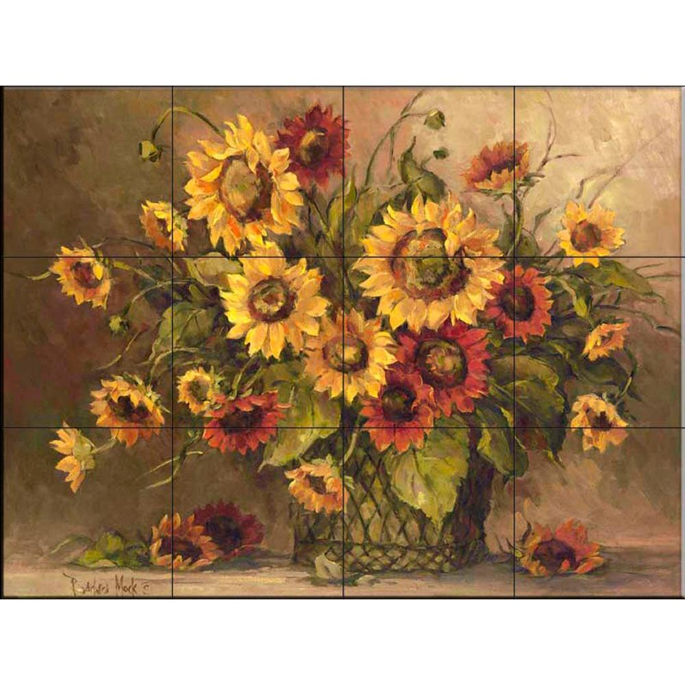 The Tile Mural Store Sunflower Bouquet 24 in. x 18 in. Ceramic Mural Wall Tile