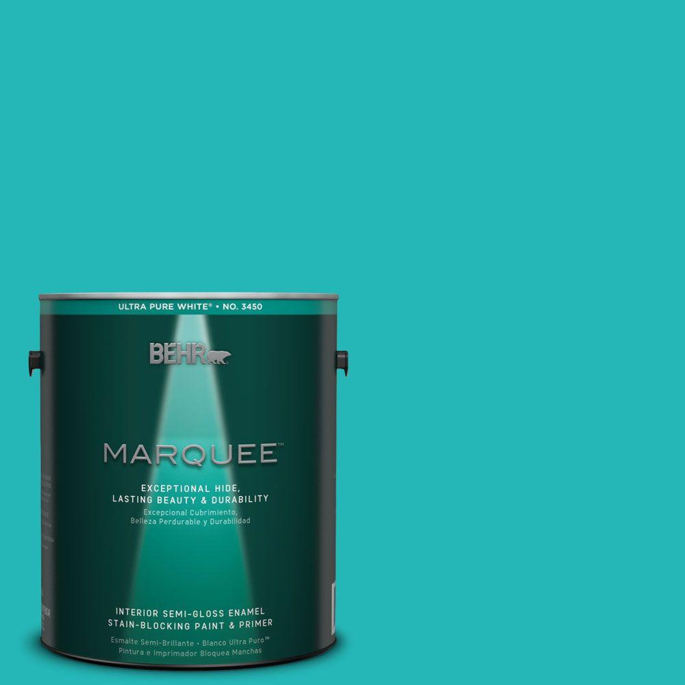 Interior Paint, Exterior Paint & Paint Samples: BEHR MARQUEE Paint 1-gal. #MQ4-21 Caicos Turquoise Semi-Gloss Enamel Interior Paint 345401