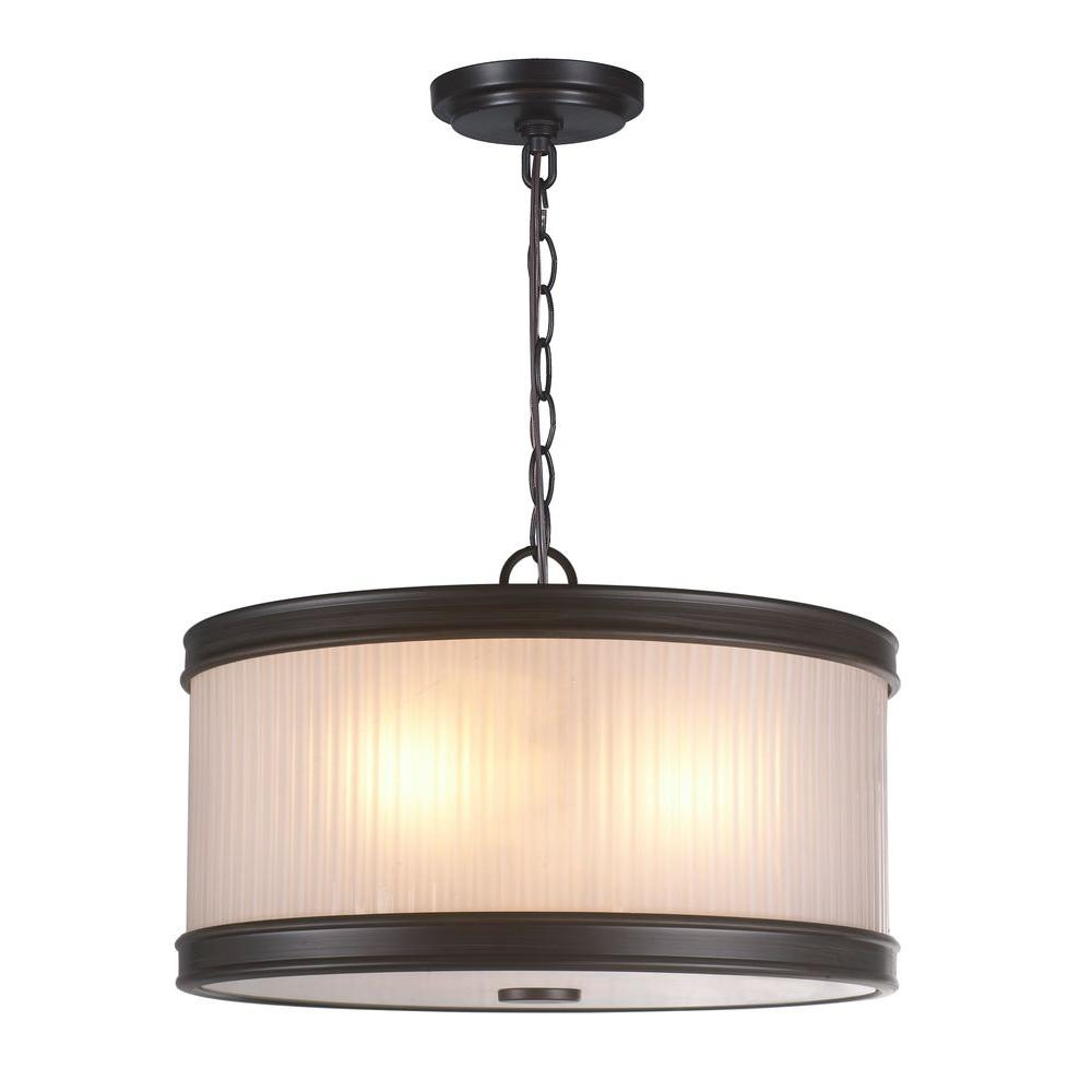World Imports 3-Light Oil-Rubbed Bronze Pendant with Ribbed Glass Shade-WI60991