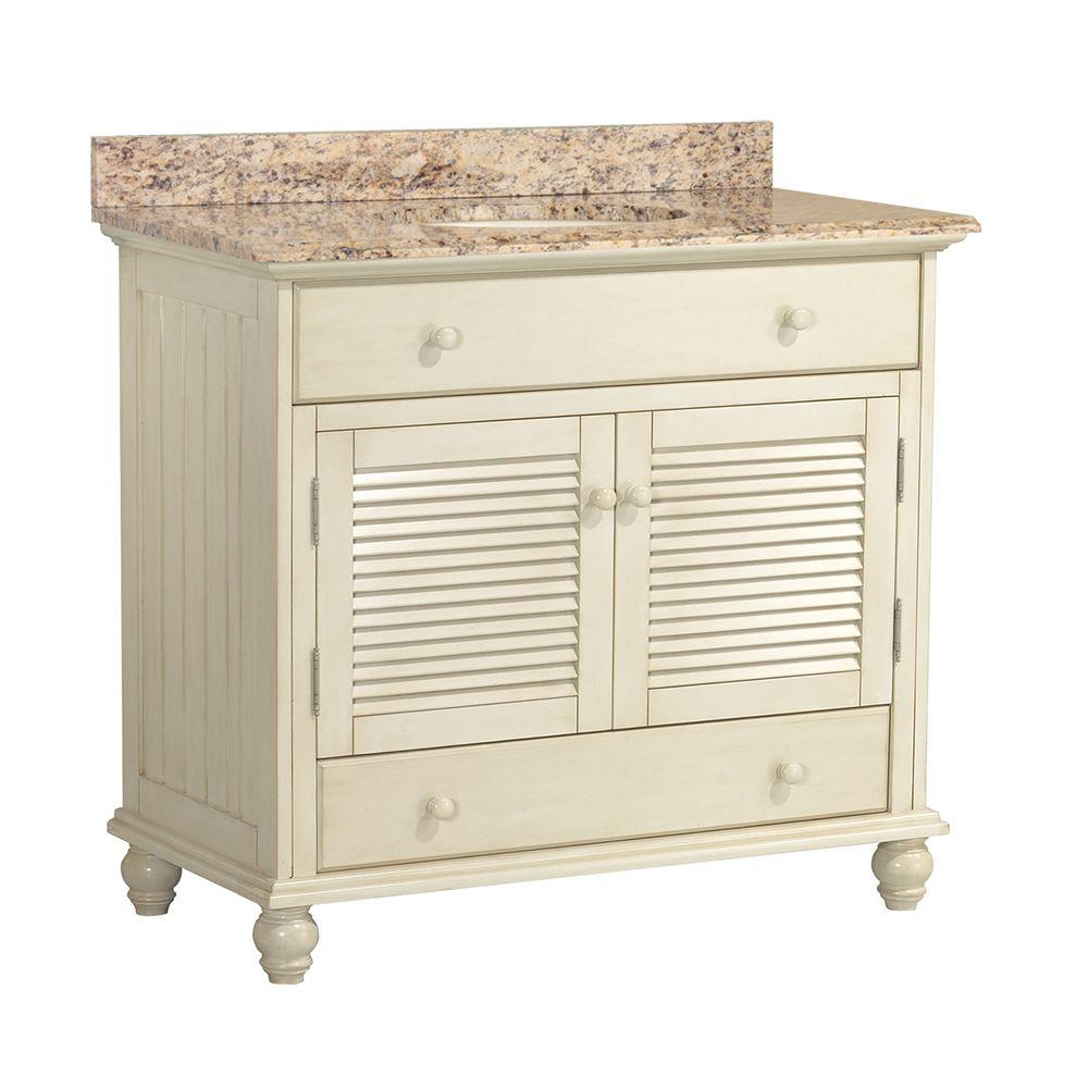 Foremost Cottage 37 in. W x 22 in. D Vanity with Vanity Top and Stone Effects in Santa Cecilia