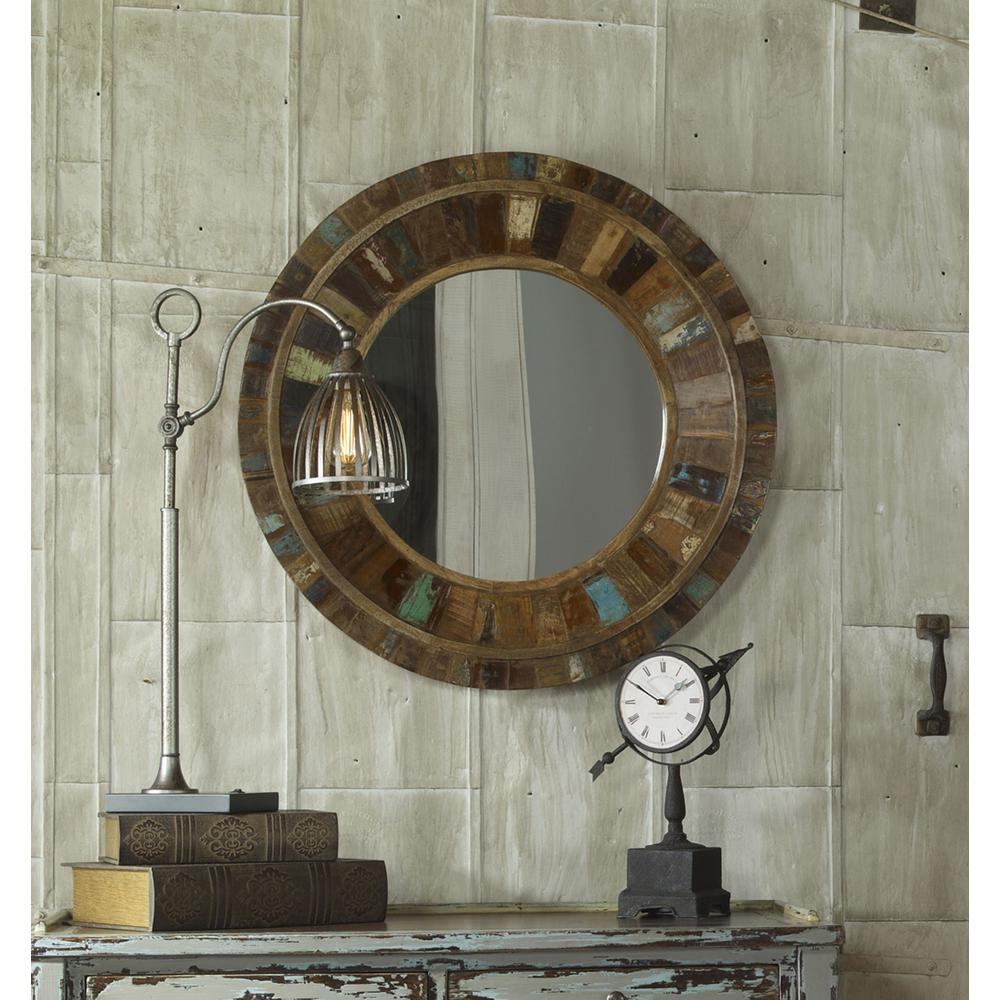 Global Direct 32 in. x 32 in. Reclaimed Wood Framed Mirror-04017
