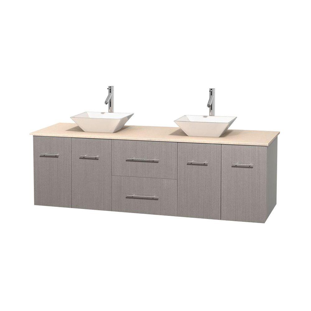Wyndham Collection Centra 72 in. Double Vanity in Gray Oak with Marble Vanity Top in Ivory and Porcelain Sinks