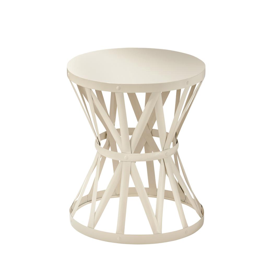 Hampton Bay 189 in Round Metal Garden Stool in Chalk HD16023A