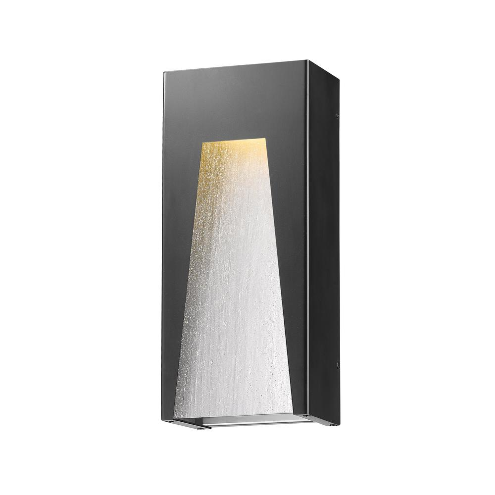 Farran 75-Watt Equivalent Outdoor Black Silver Integrated LED Wall Mount Sconce