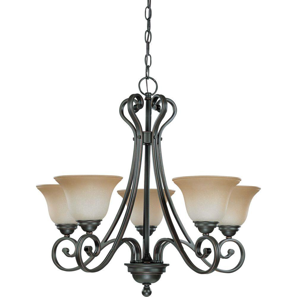 Glomar 5-Light Sudbury Bronze Arm Up Chandelier with Champagne Linen Glass