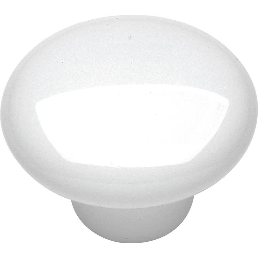 Hickory Hardware English Cozy 1-1/2 in. White Cabinet Knob-P29-W - The