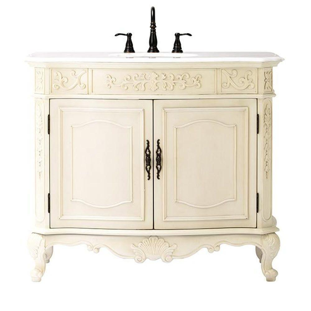 Home Decorators Collection Winslow 43 in. Vanity in Antique White with Marble Vanity Top in White