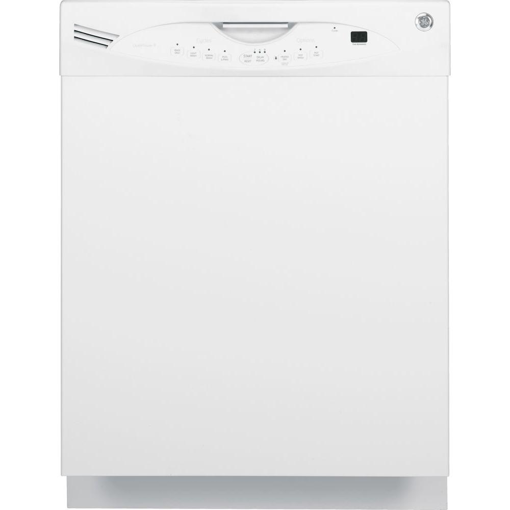 GE Front Control Dishwasher in White with Stainless Steel Tub