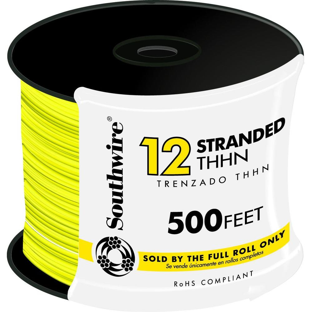 Southwire 500 ft. 12 Yellow Stranded THHN Wire