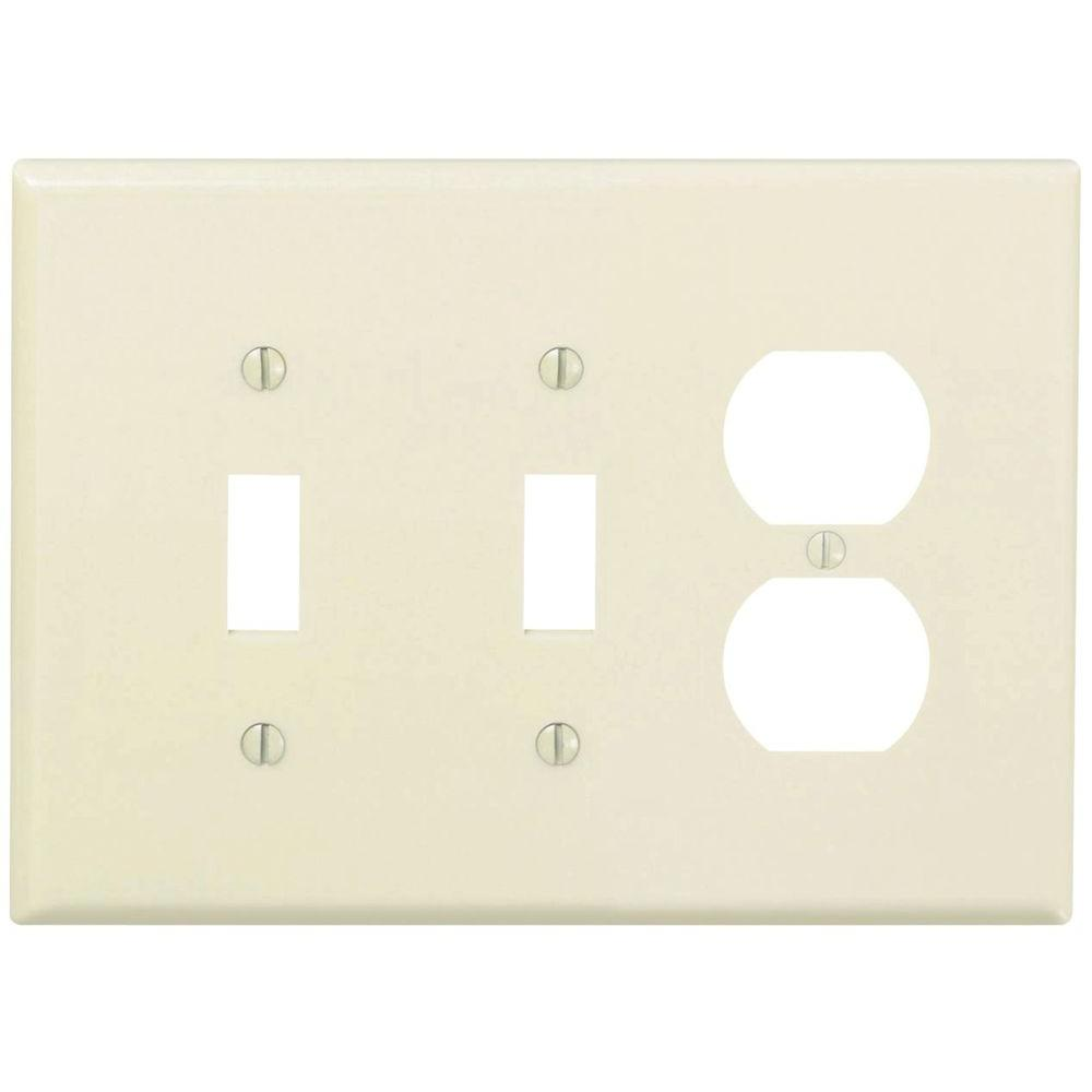 3-Gang Midway 2-Toggle 1-Duplex Combination Nylon Wall Plate, Light Almond