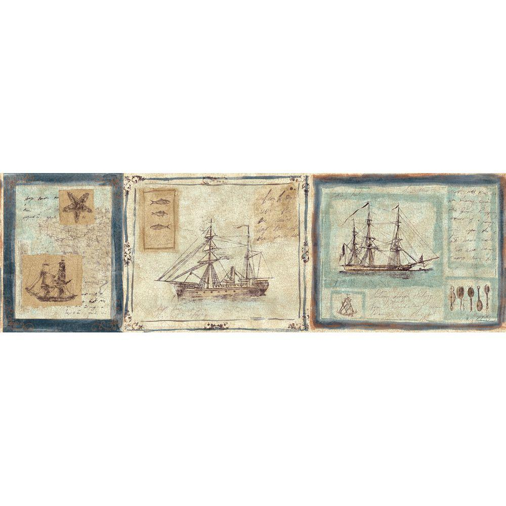 The Wallpaper Company 8 in. x 10 in. Blue and Beige Nautical Ships Border Sample
