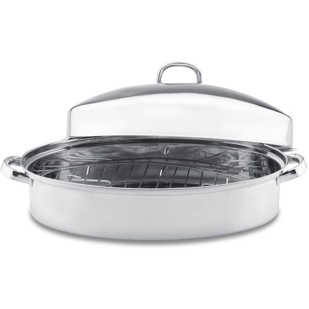 Vinaroz Collection 9 qt. Oval Roaster with Rack and High Lid in Stainless Steel