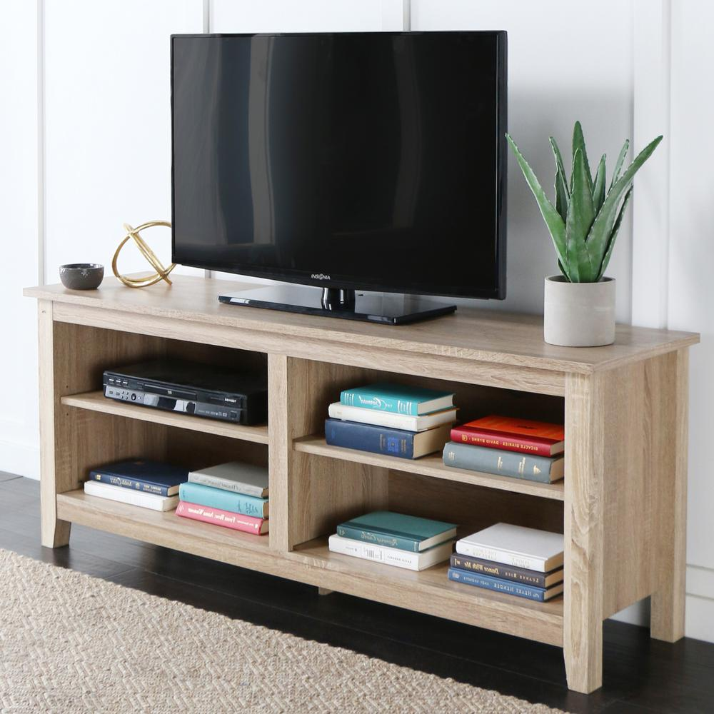Walker Edison Furniture Company Essential Natural Storage Entertainment Center Hd58cspnt The