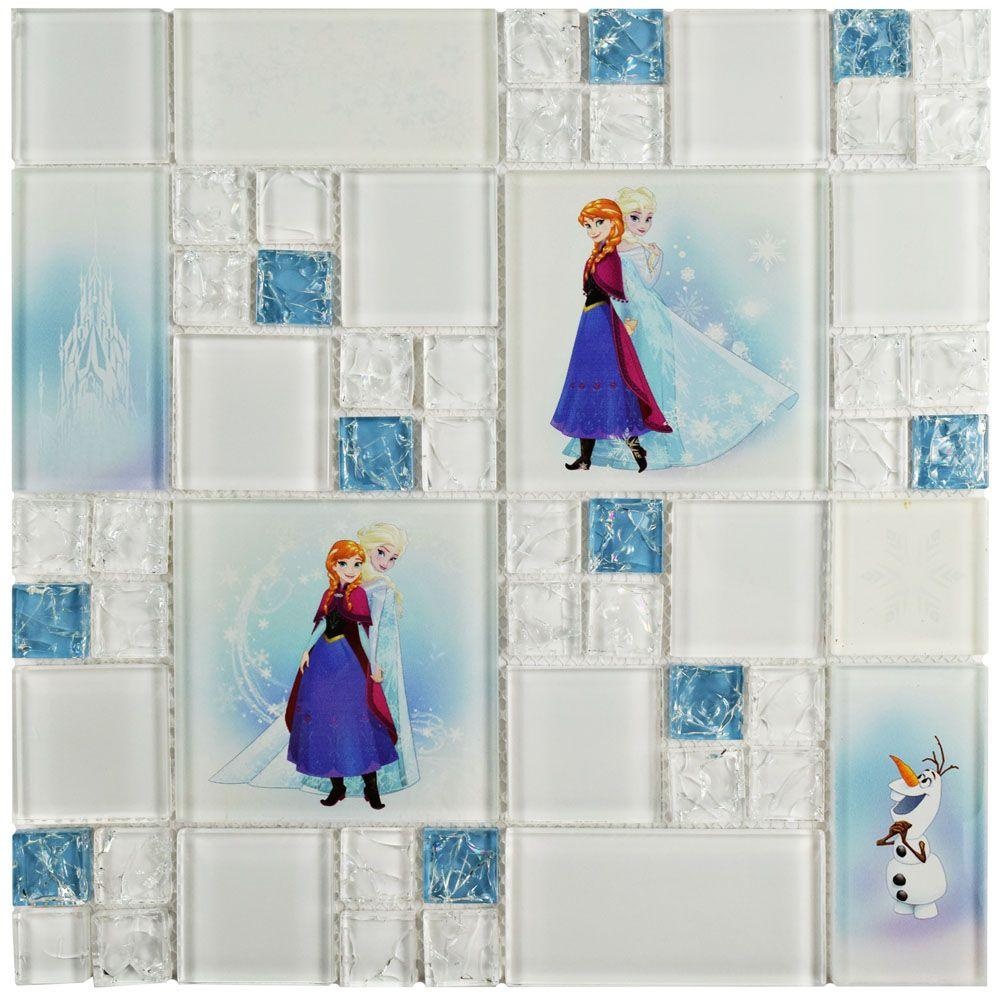 Disney Frozen Ice Blue 11-3/4 in. x 11-3/4 in. x 5 mm Glass Mosaic Tile, Ice Blue/High Sheen