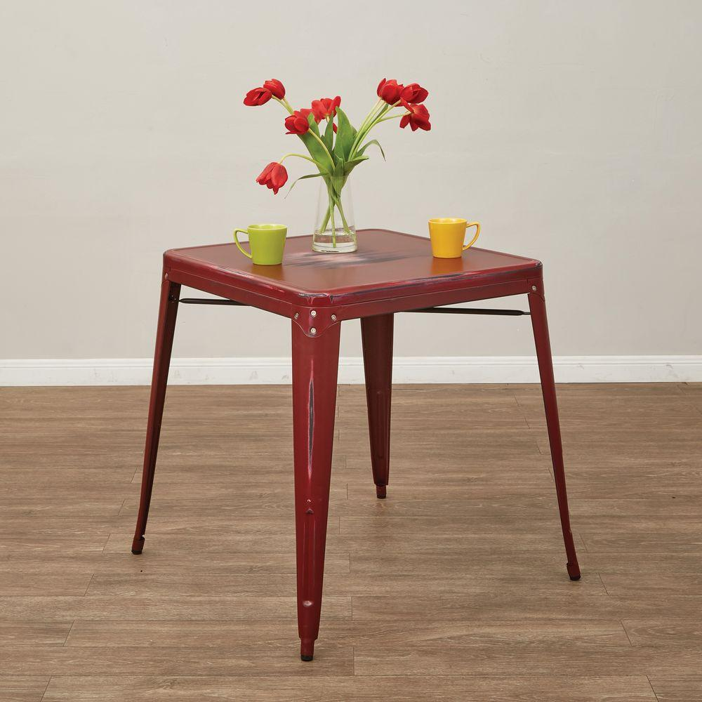 OSPdesigns Bristow Antique Red Metal Accent Table-BRW432-ARD - The Home Depot