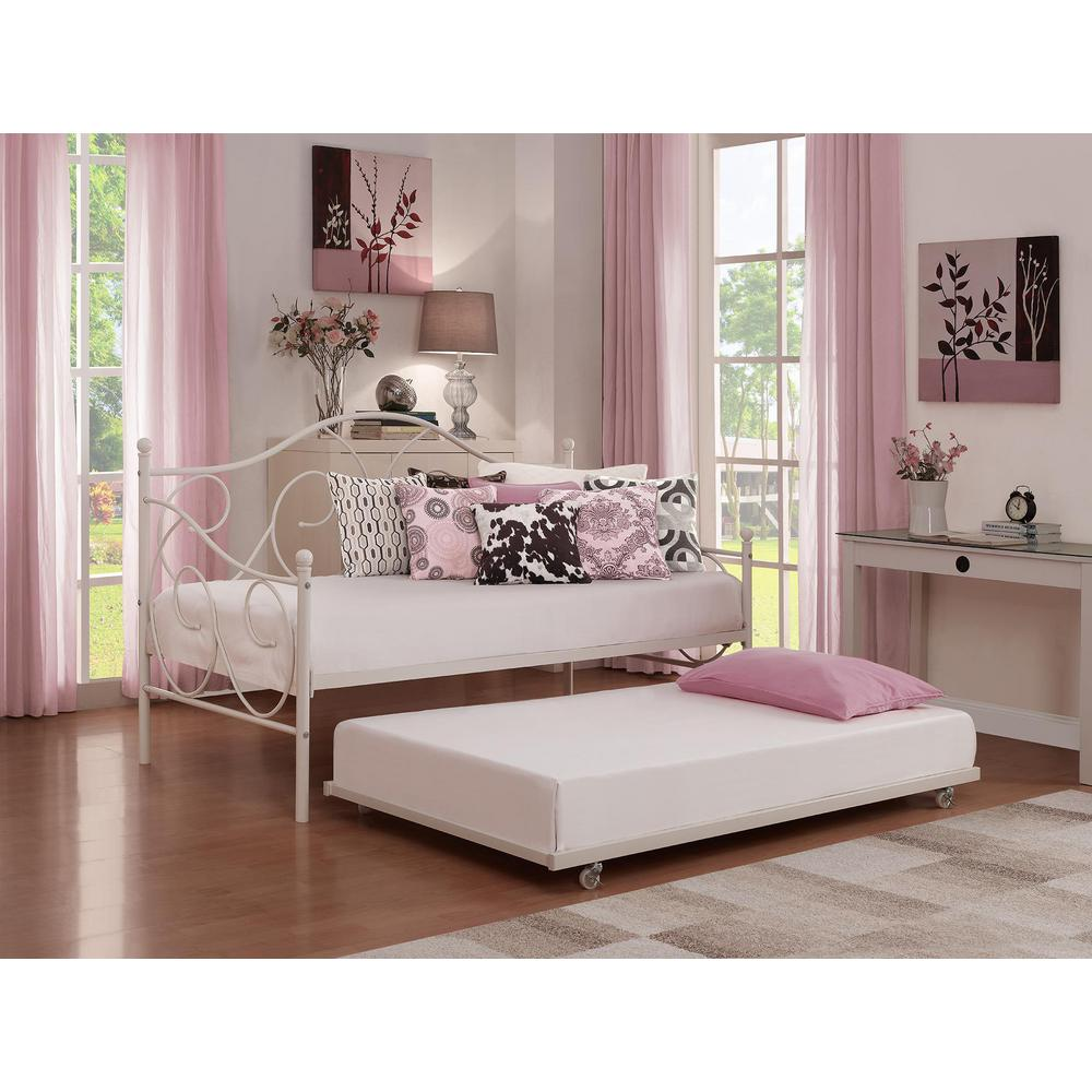 universal daybed twin size trundle in white