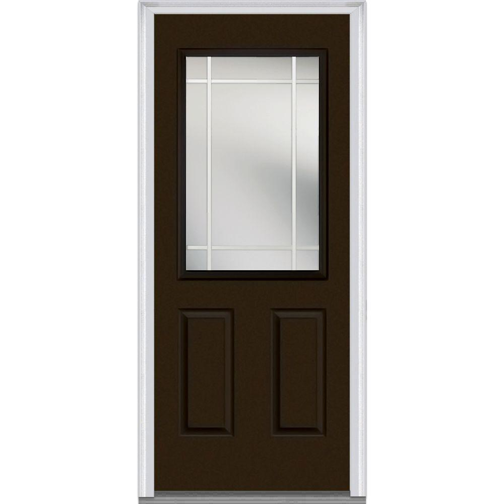 Milliken millwork 37 5 in x in classic clear glass for Steel front entry doors