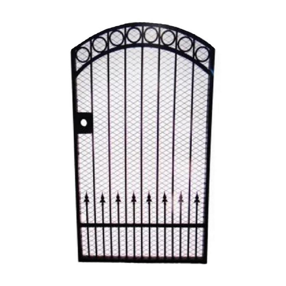 Trento 40 in. W (including posts) x 72 in. H Black Garden Metal Gate with iron screen