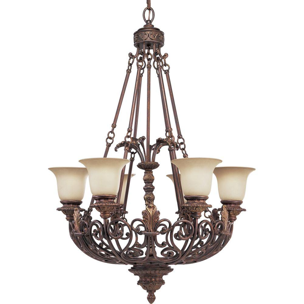 Progress Lighting Messina Collection 6-Light Aged Mahogany Chandelier