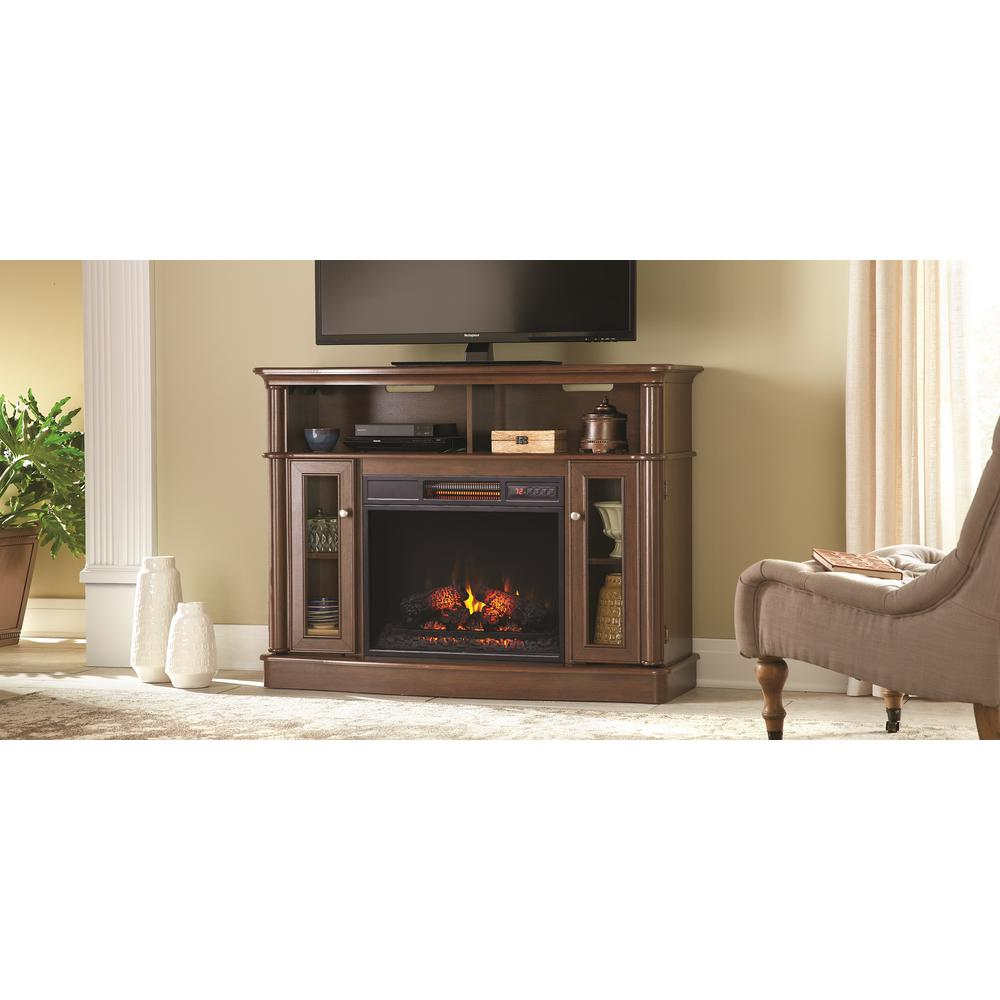 Tolleson 48 in. Media Console Infrared Bow Front Electric Fireplace in