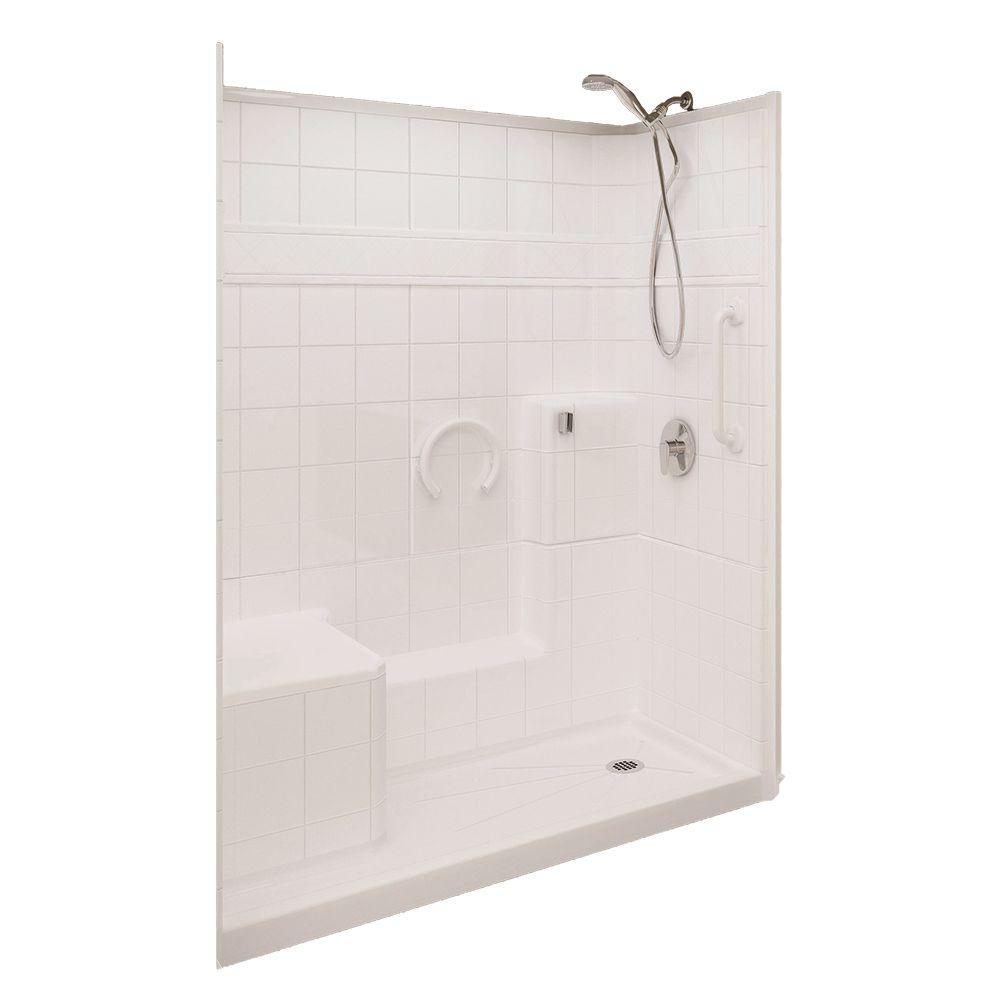 Ella Prestige 32 in. x 60 in. x 77 in. 3-piece Low Threshold Shower System in White with Right Drain