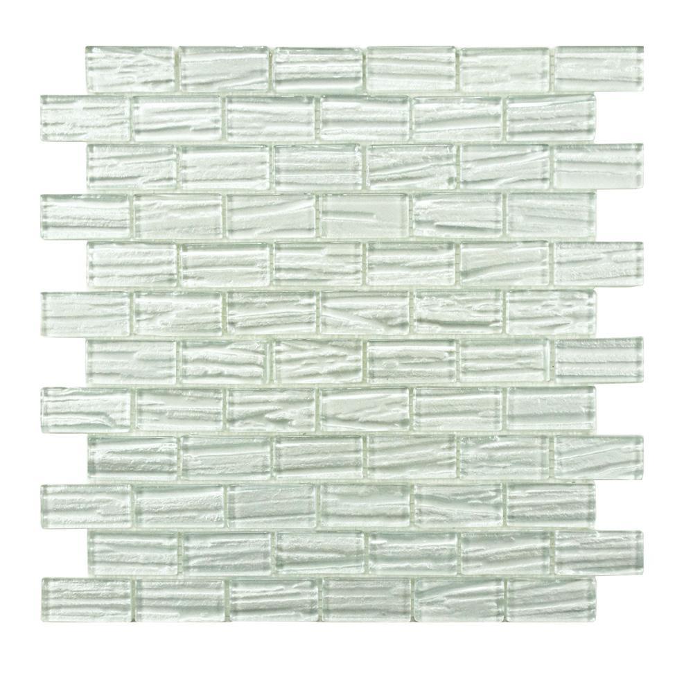 Merola Tile Aspen Subway White 12-1/2 in. x 12-1/2 in. x 5 mm Glass Mosaic Tile