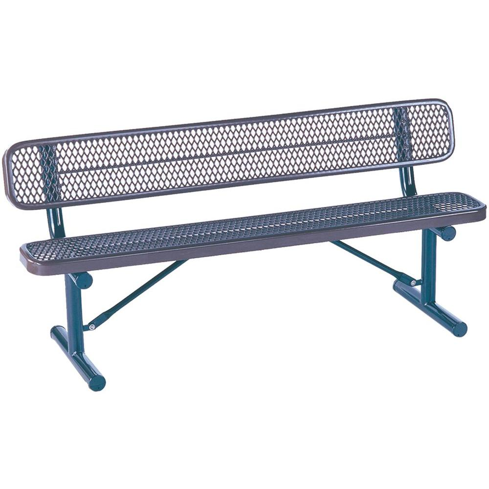 Tradewinds Park 6 ft. Blue Commercial Bench-HD-D003GS-BL - The Home Depot