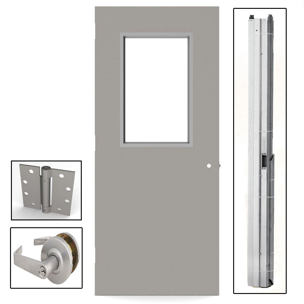 L.I.F Industries 36 in. x 84 in. Gray Flush Steel Vision Light Commercial Door Unit with Hardware