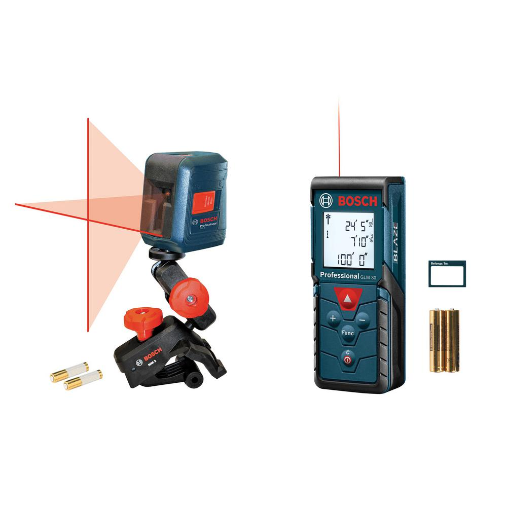 Bosch 100 ft. Laser Measure and 30 ft. Self Leveling Cross-Line