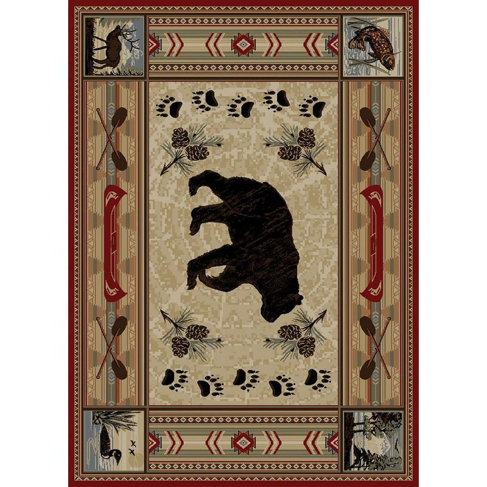 Tayse Rugs Nature Red 7 ft. 10 in. x 10 ft. 3 in. Lodge Area Rug