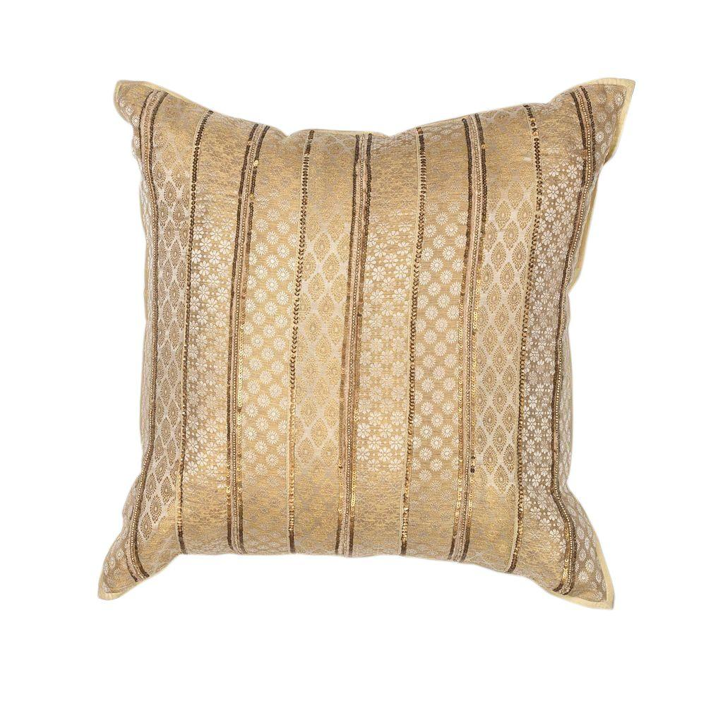 Kas Rugs Formal Stripe Gold Decorative Pillow-PILL18418SQ - The Home Depot